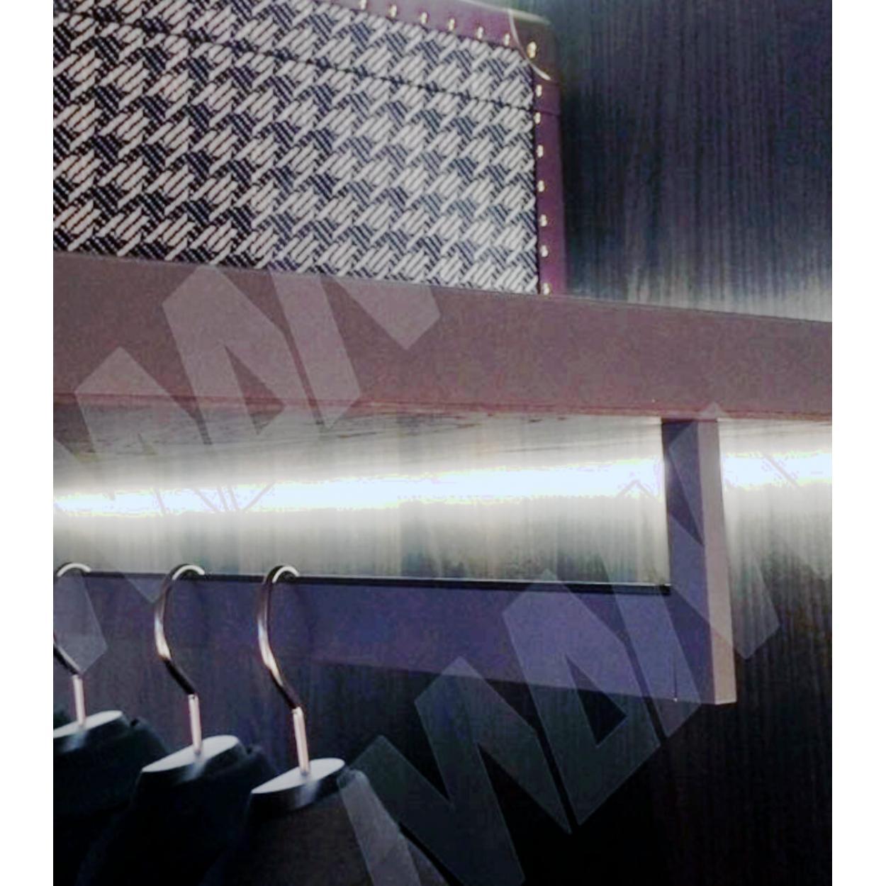 VOGUE Штанга прямоугольная 30х8, с демпфером, серый металлик, L-900 + 2 Держателя