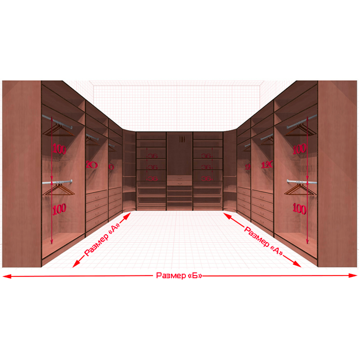 Угловая классическая гардеробная №U3x3-c
