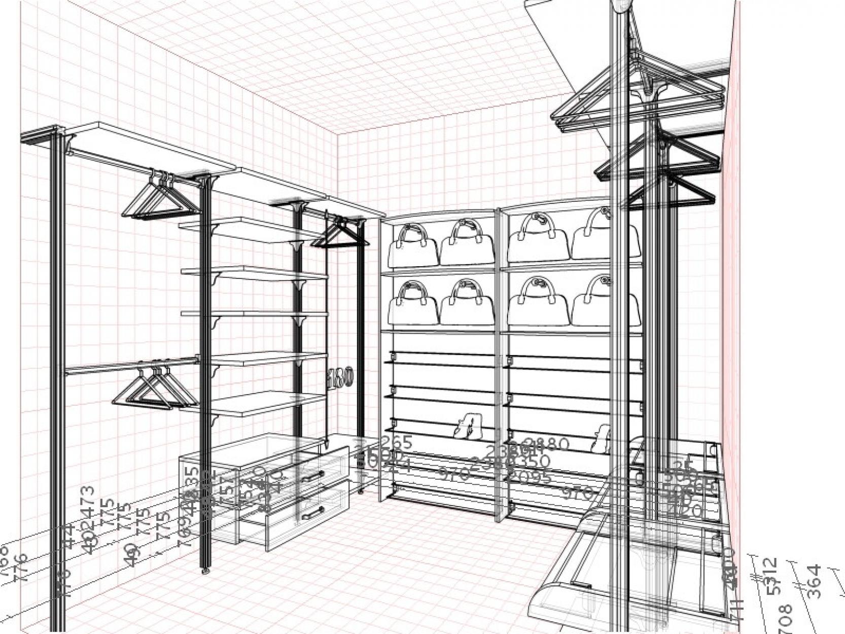 Заказать 3-д проект гардеробной комнаты