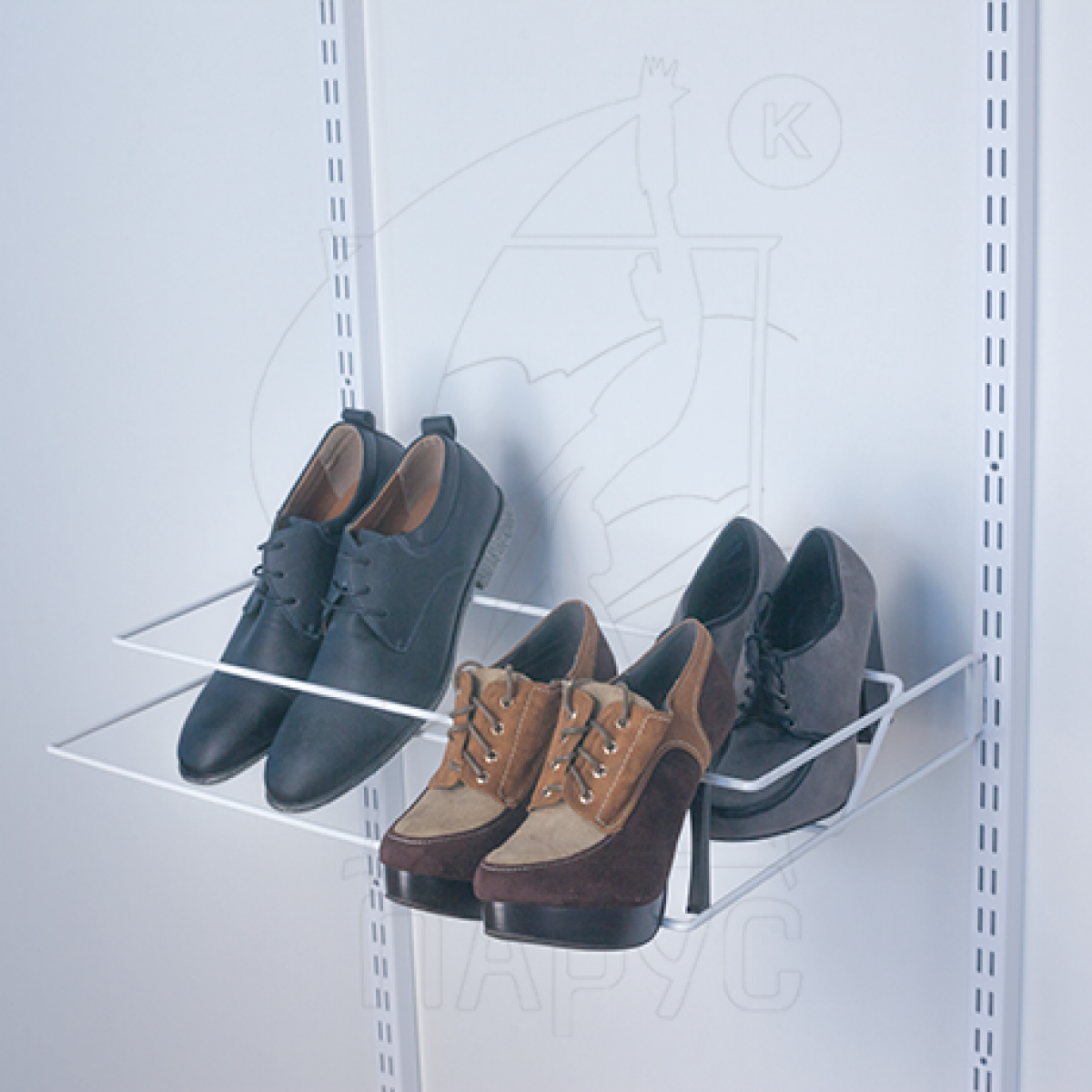 Обувница навесная двухъярусная 607мм. Цвет:Белый