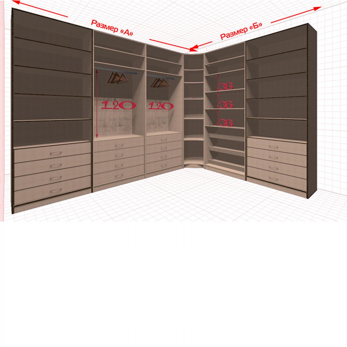 Угловая классическая гардеробная №L3x2-d