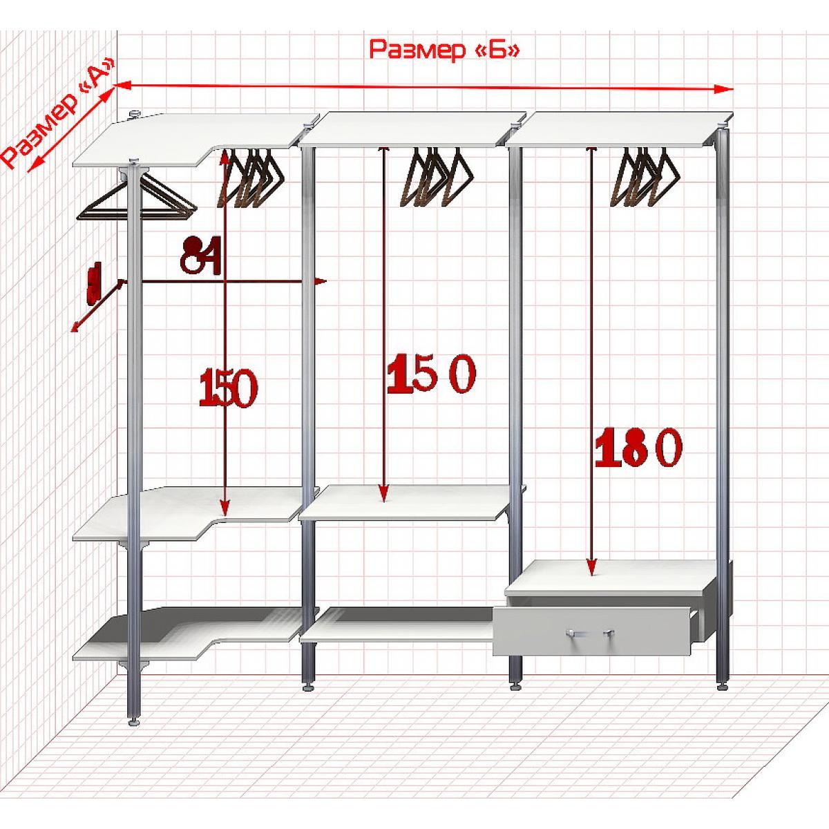Угловая Гардеробная №4 Открытая гардеробная система