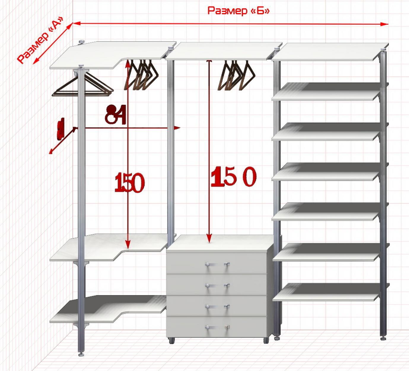 Угловая Гардеробная №6 Открытая гардеробная система