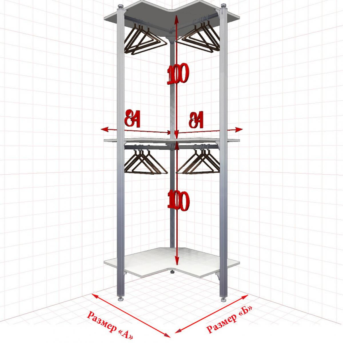 Угловая Гардеробная №0-2 Открытая гардеробная система