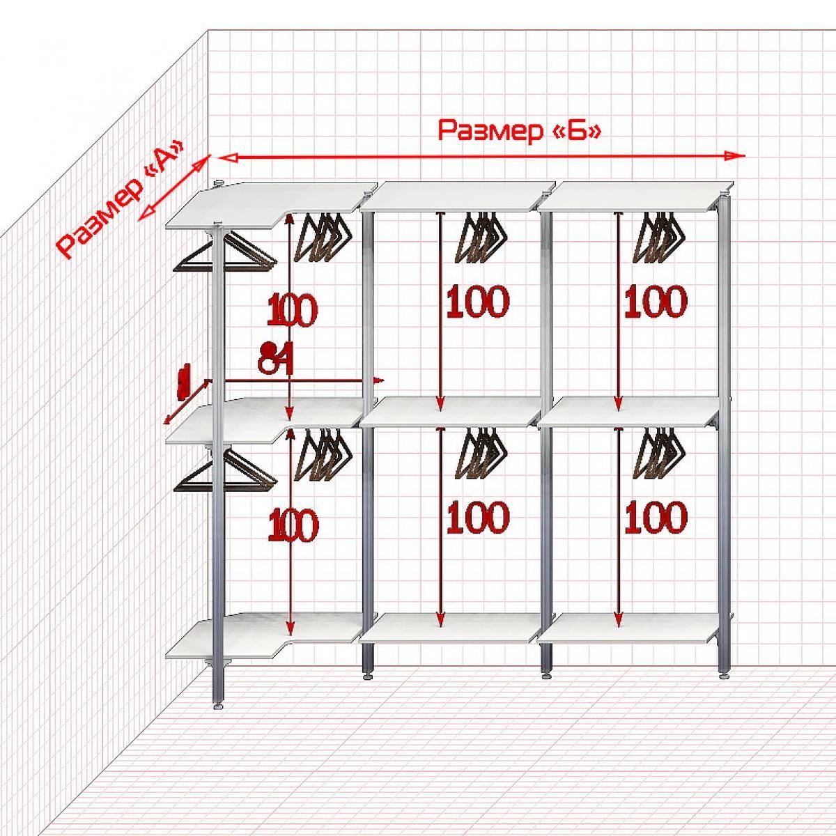 Угловая Гардеробная №1 Открытая гардеробная система