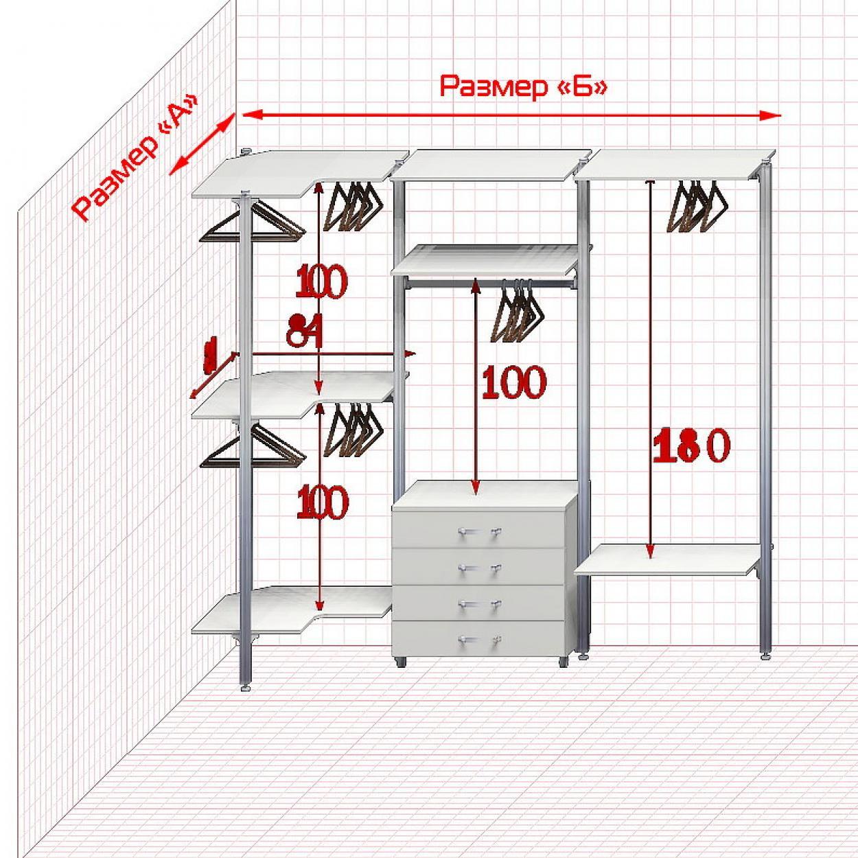 Угловая Гардеробная №2 Открытая гардеробная система