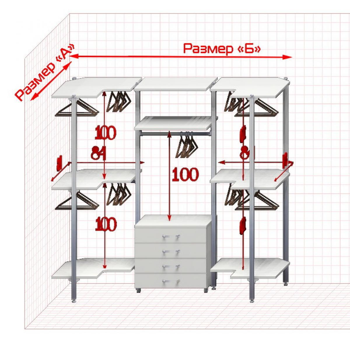 Угловая Гардеробная №U-1  Открытая гардеробная система