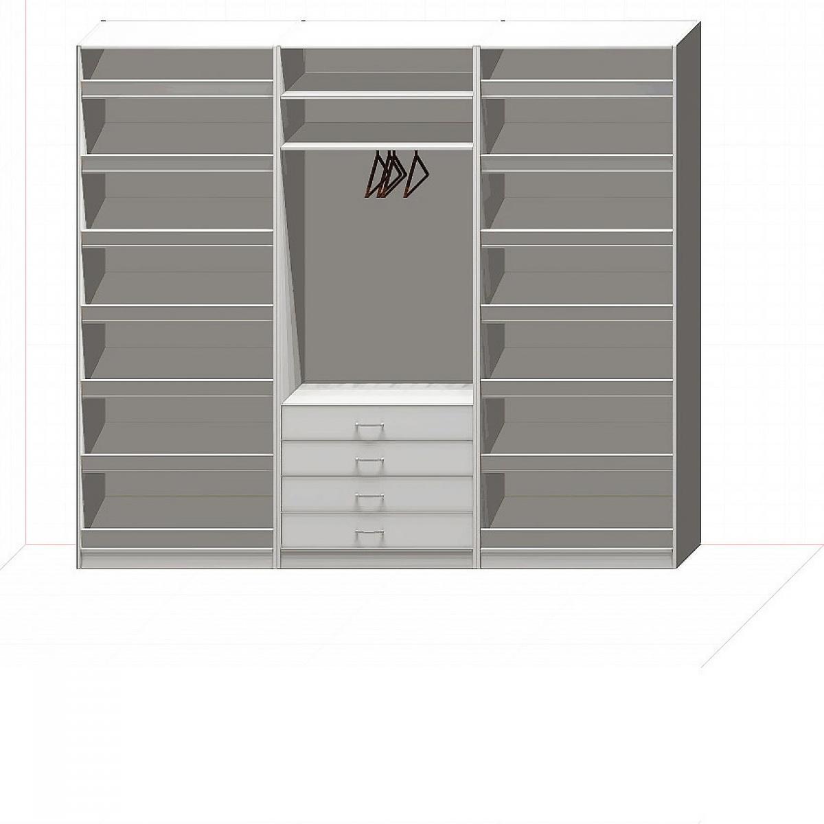 Прямая классическая гардеробная комната №11-1
