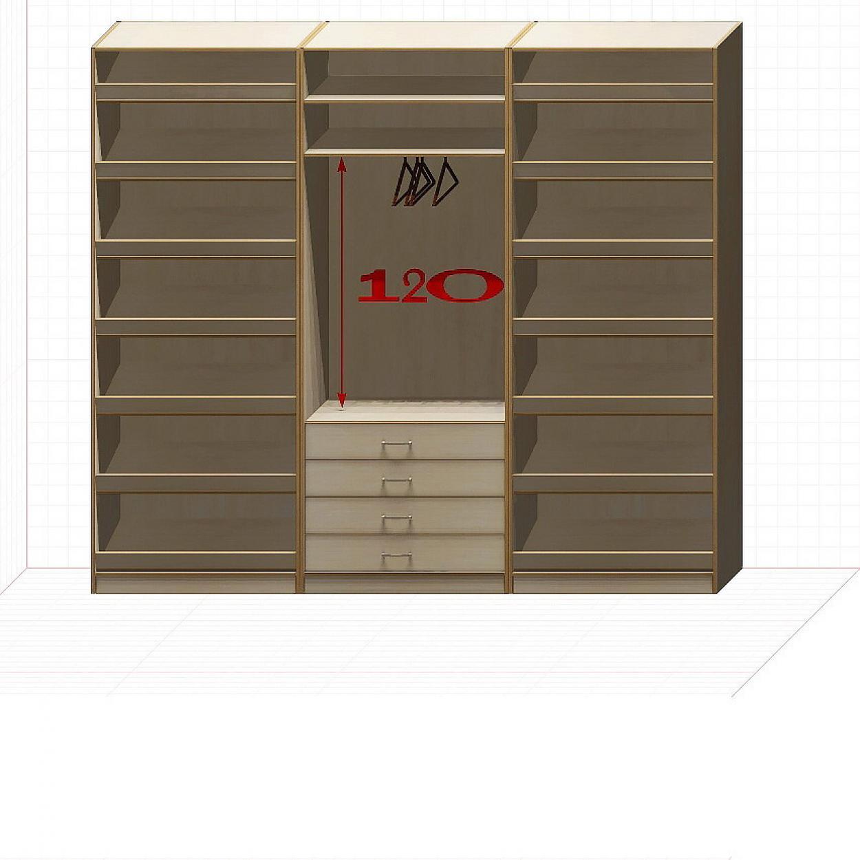 Прямая классическая гардеробная комната №12