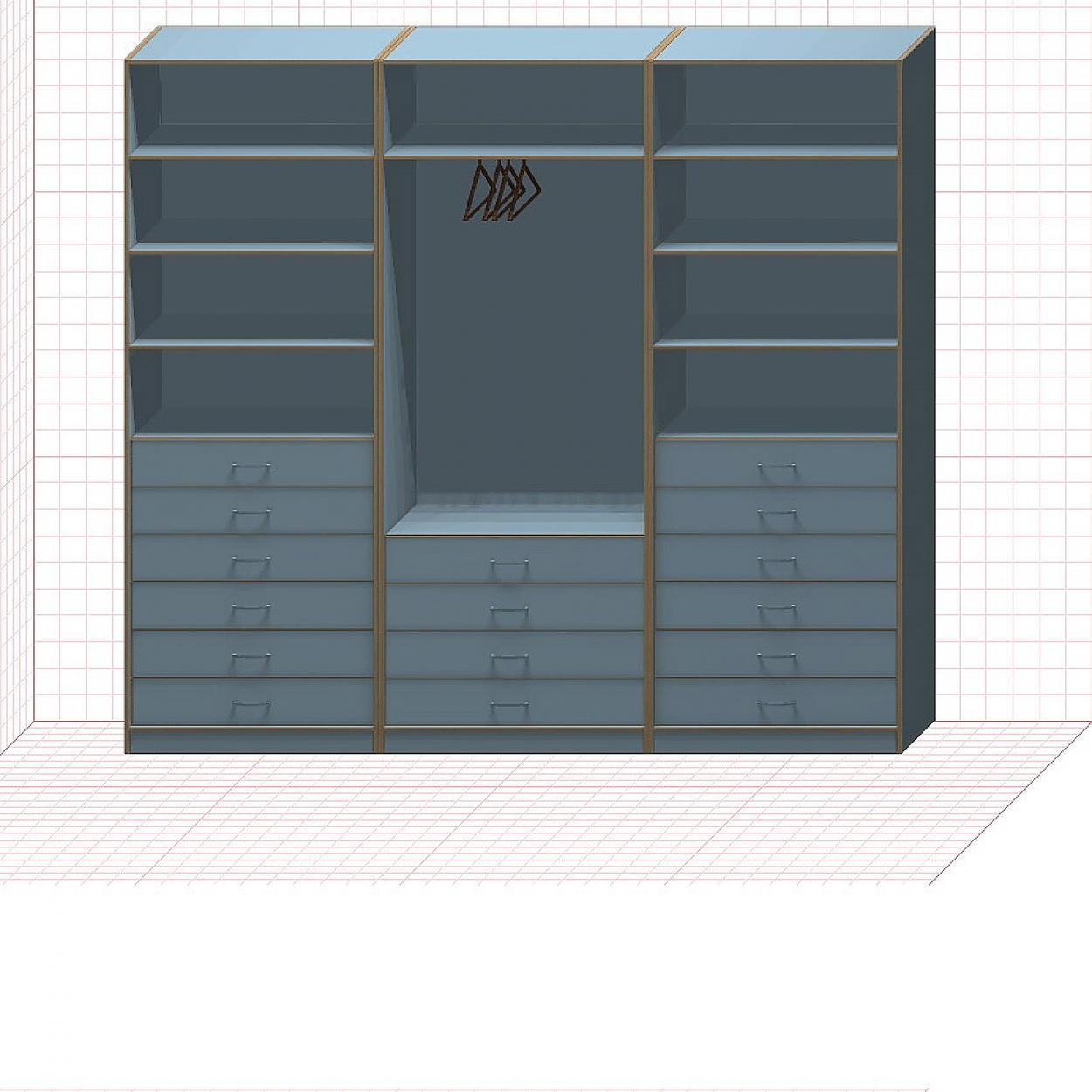 Прямая классическая гардеробная комната №15