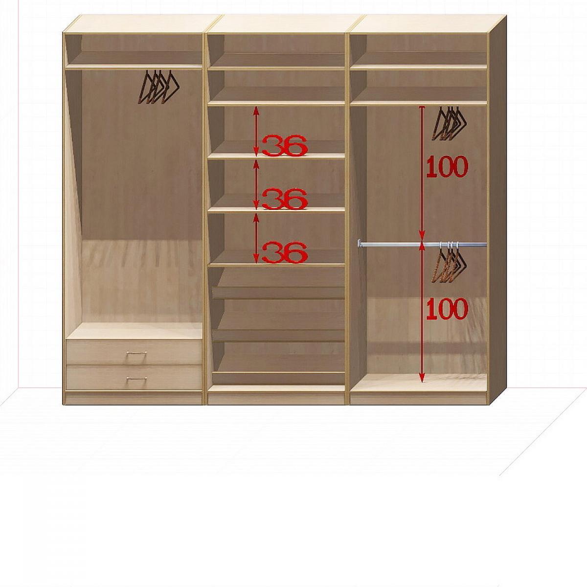 Прямая классическая гардеробная комната №4