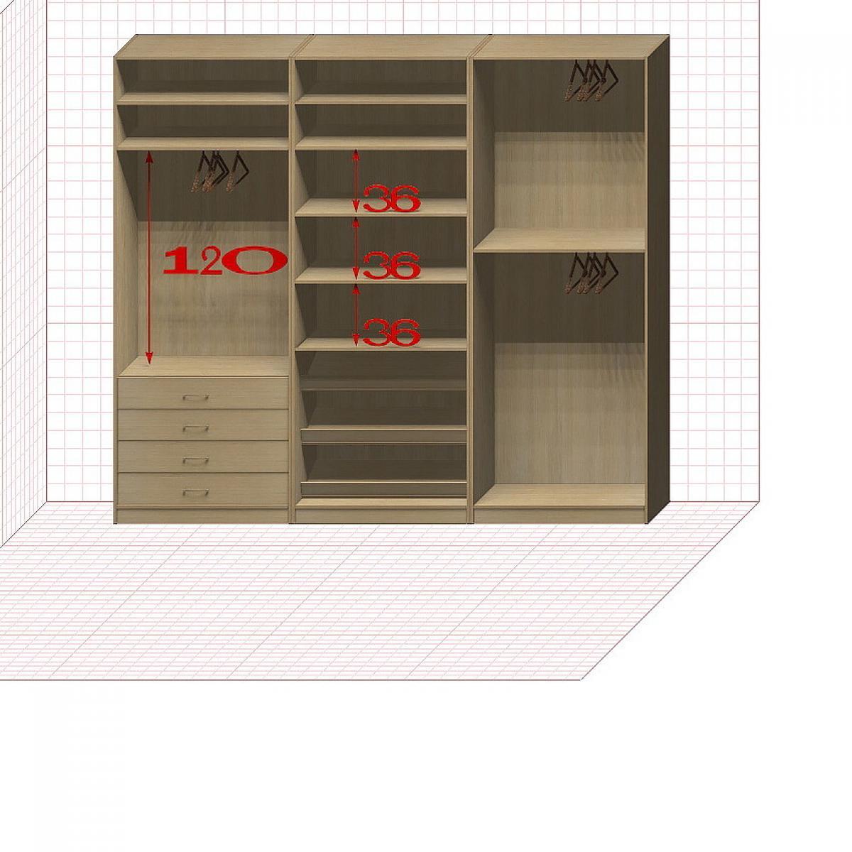 Прямая классическая гардеробная комната №5