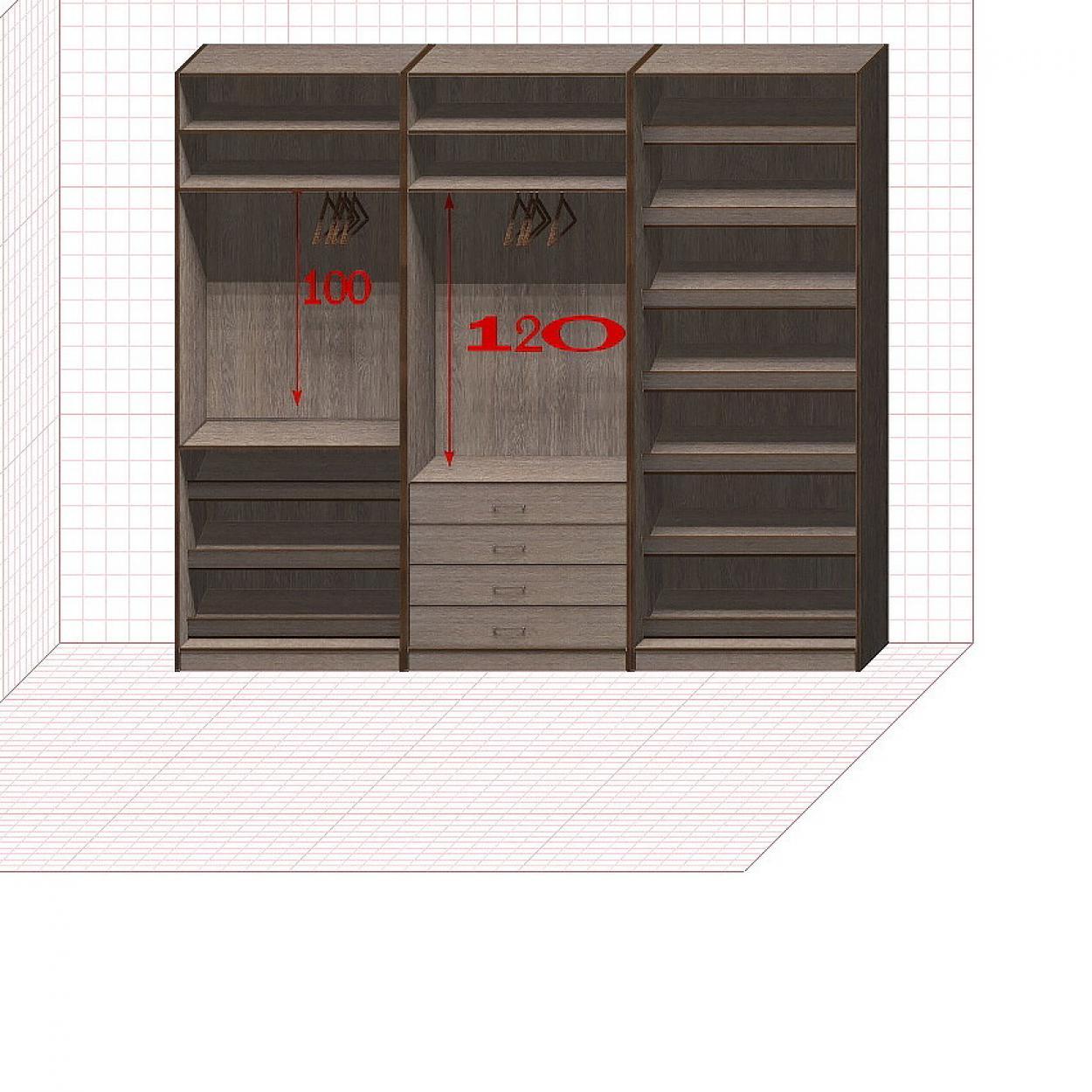 Прямая классическая гардеробная комната №7
