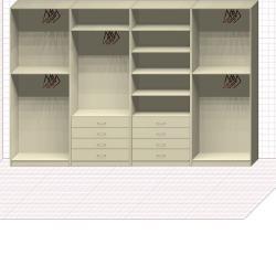 Прямая классическая гардеробная комната №23