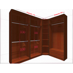 Угловая классическая гардеробная №L2x1a-a
