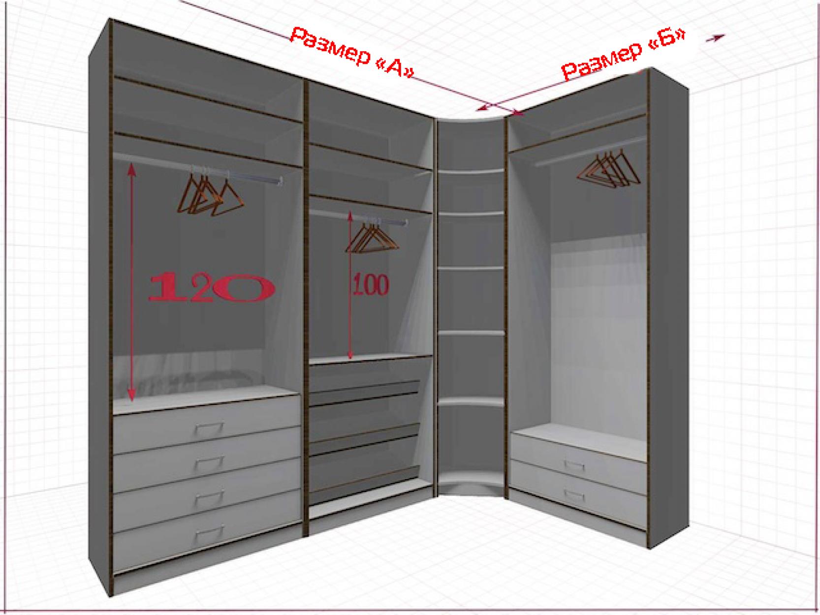 Угловая классическая гардеробная №L2x1f-a