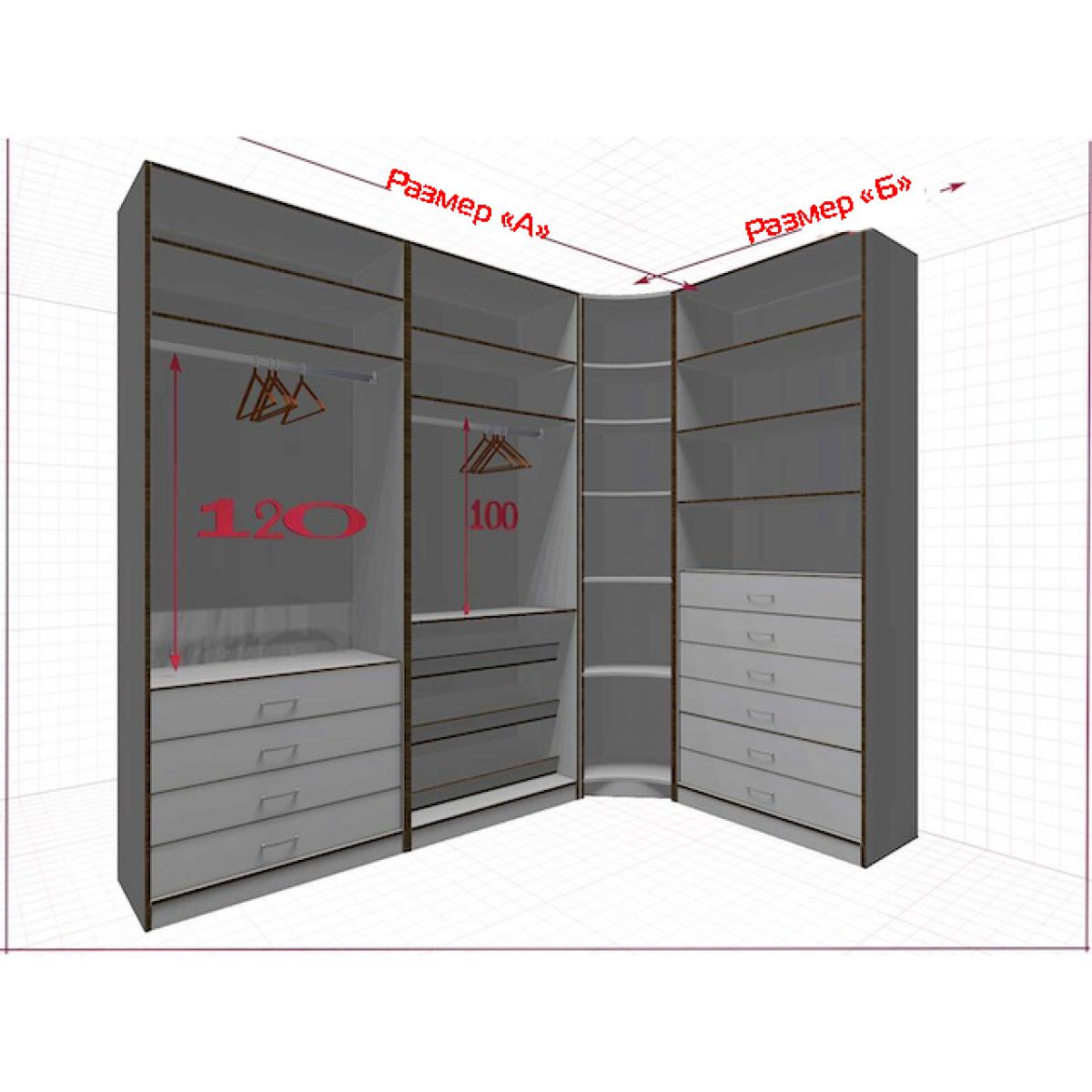 Угловая классическая гардеробная №L2x1g-a
