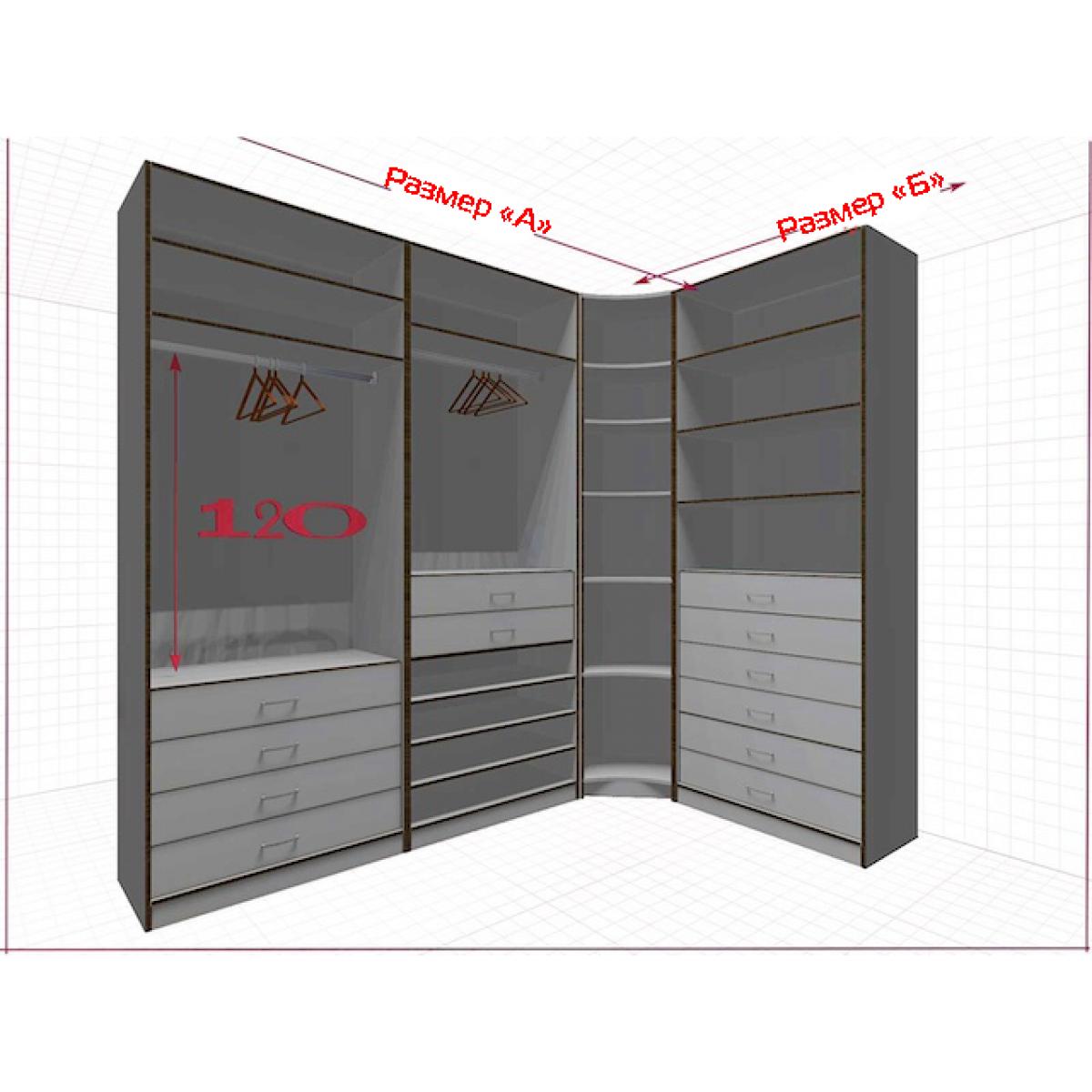 Угловая классическая гардеробная №L2x1h-a
