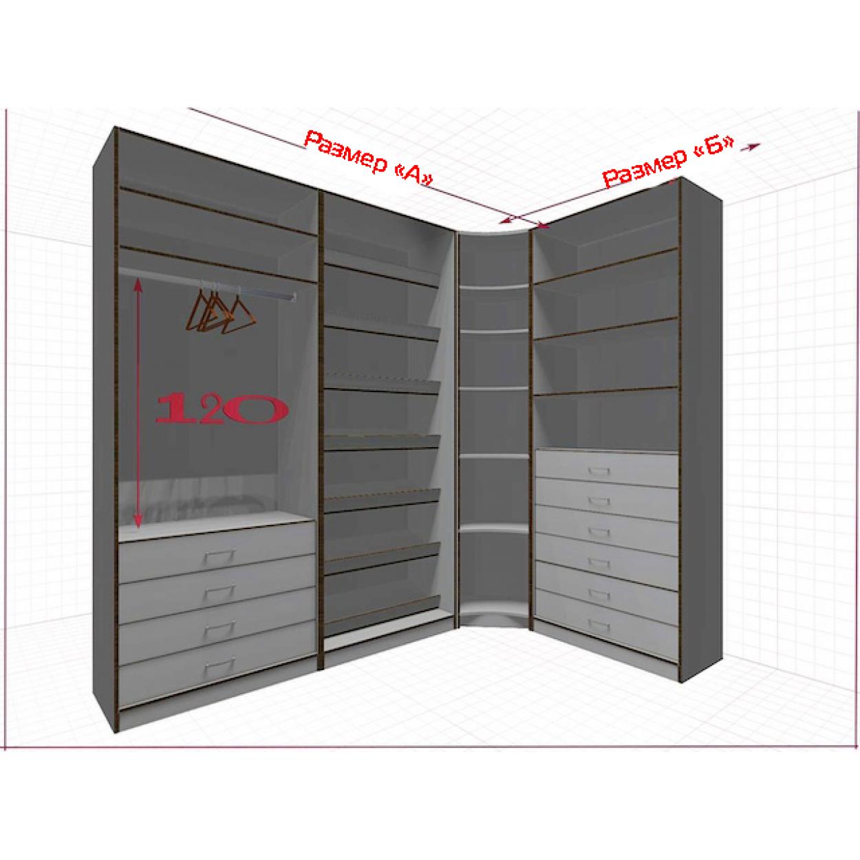Угловая классическая гардеробная №L2x1j-a
