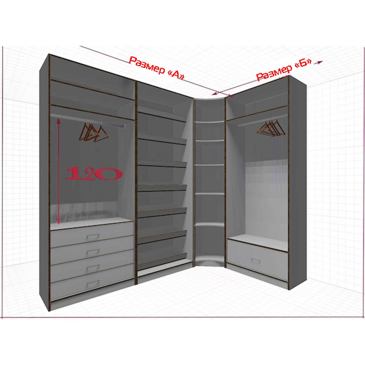 Угловая классическая гардеробная №L2x1k-a