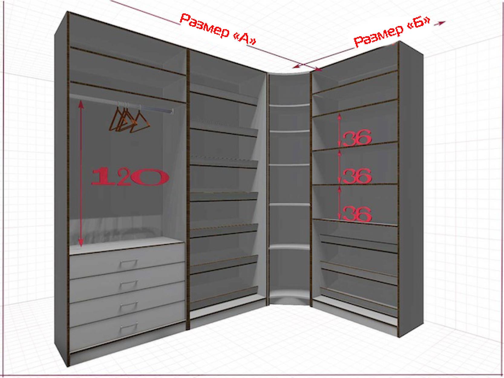 Угловая классическая гардеробная №L2x1L-a