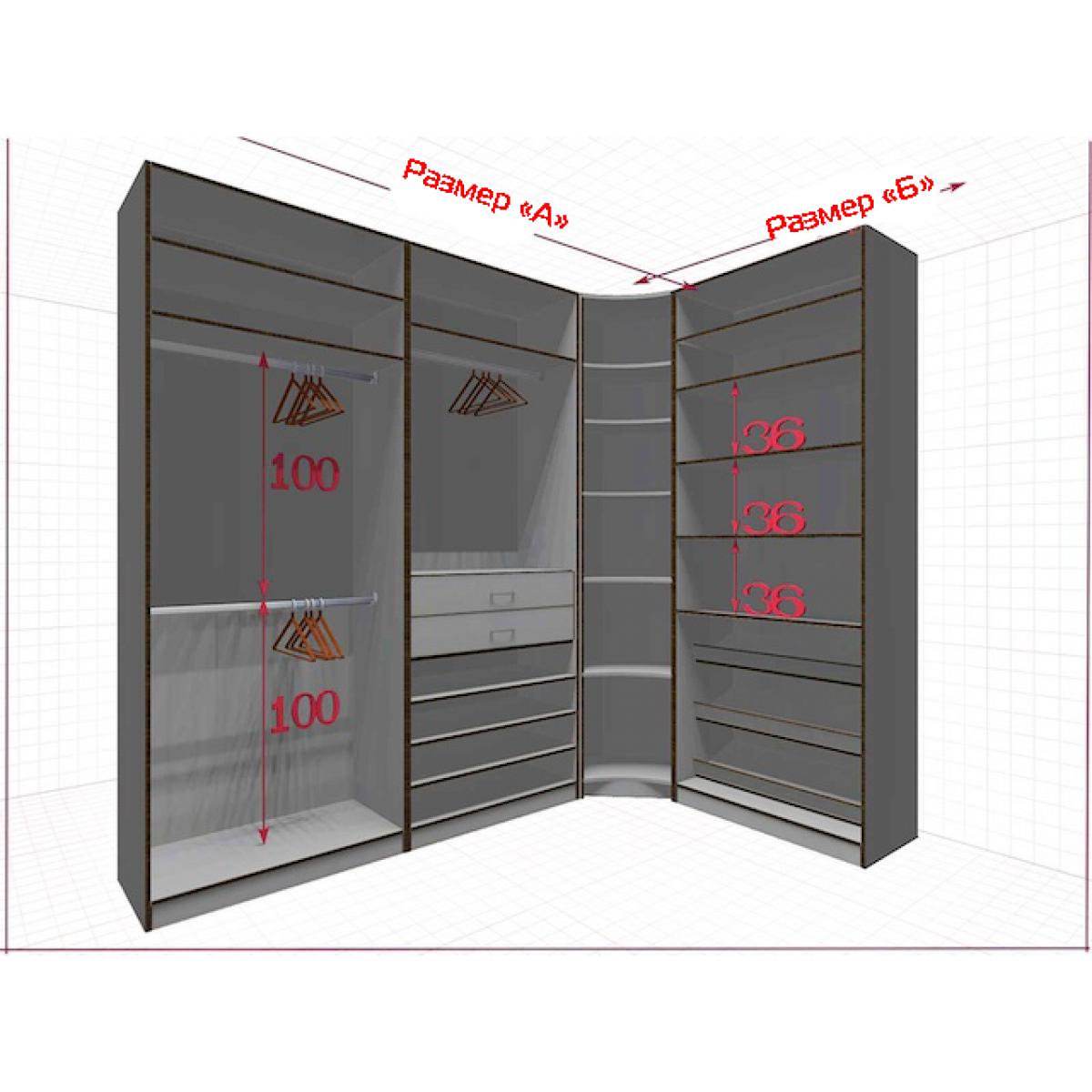 Угловая классическая гардеробная №L2x1m-a