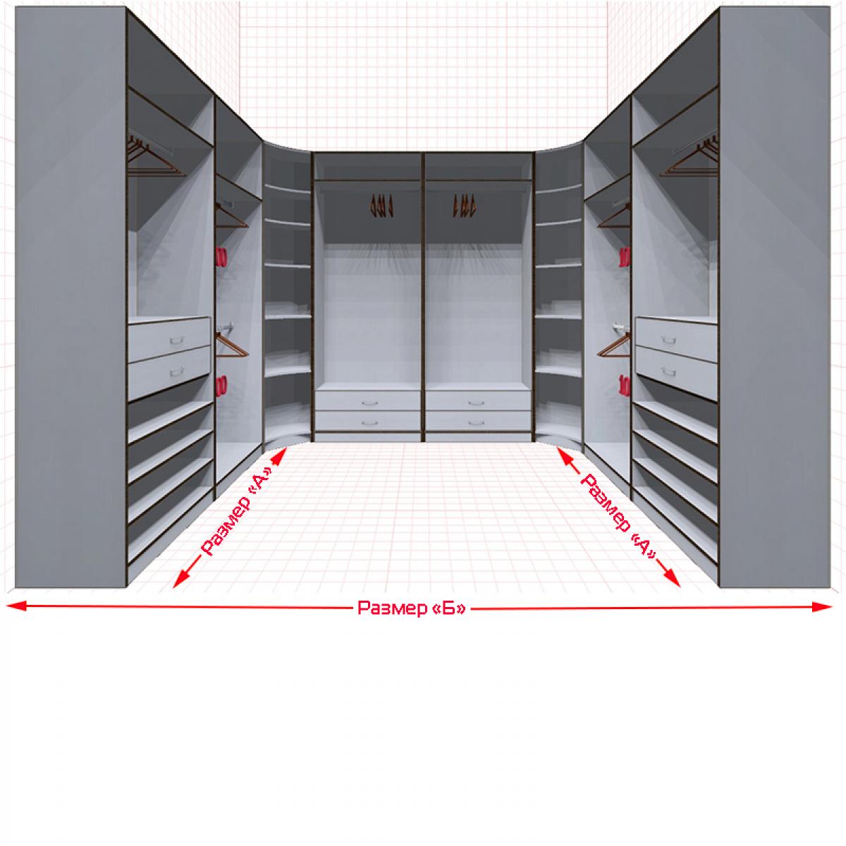 Угловая классическая гардеробная №U2x2-d
