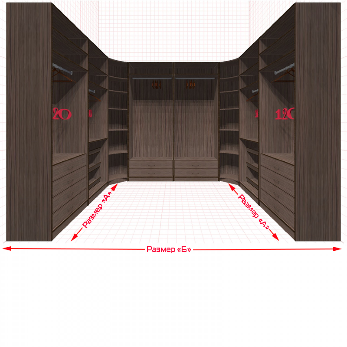 Угловая классическая гардеробная №U2x2-f