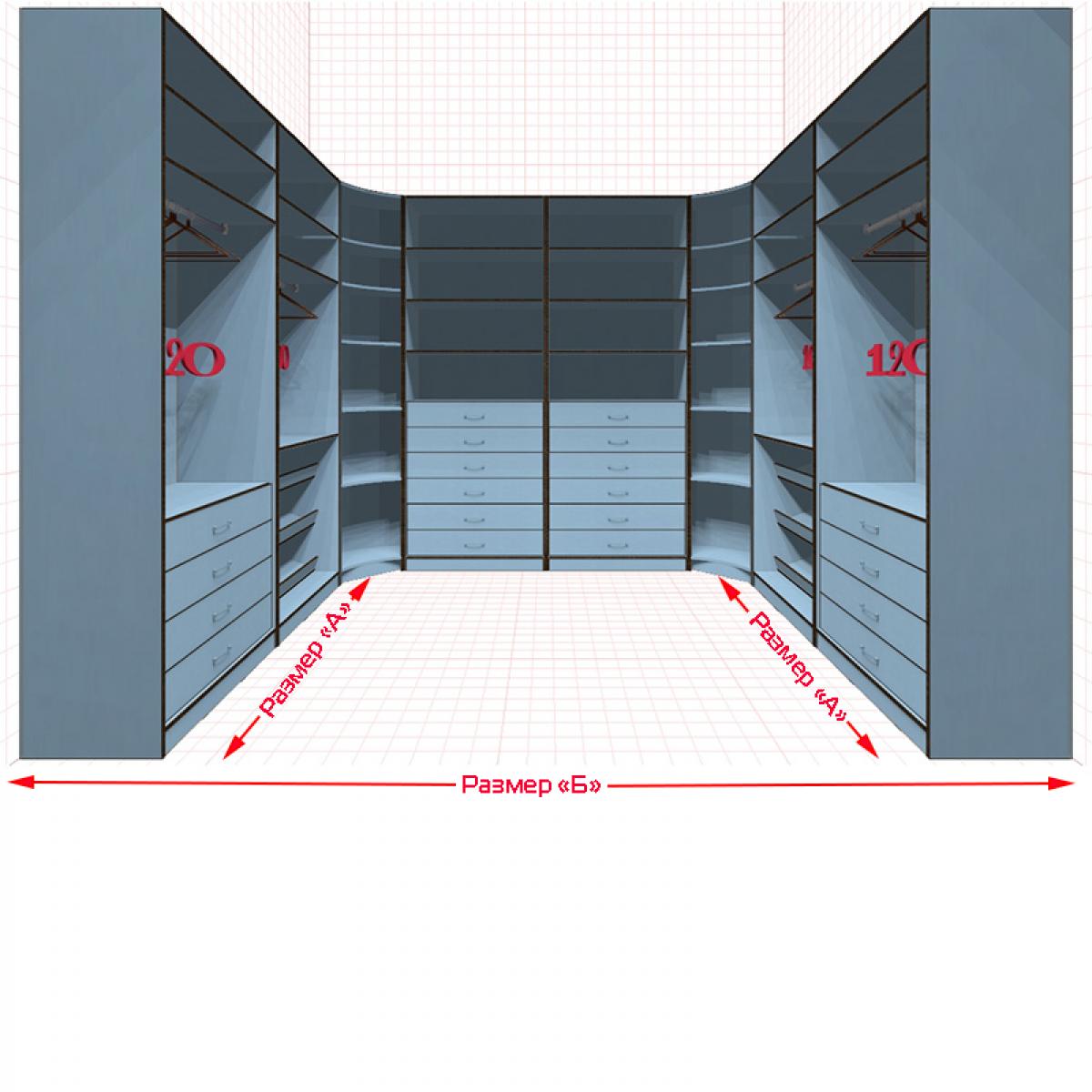 Угловая классическая гардеробная №U2x2-g