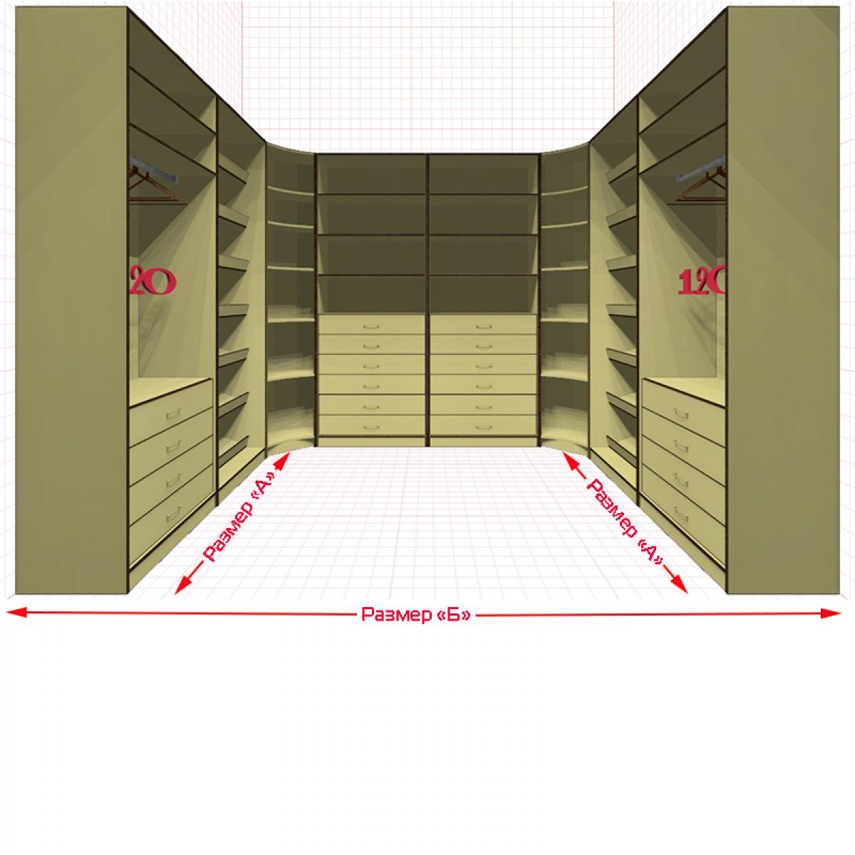 Угловая классическая гардеробная №U2x2-j