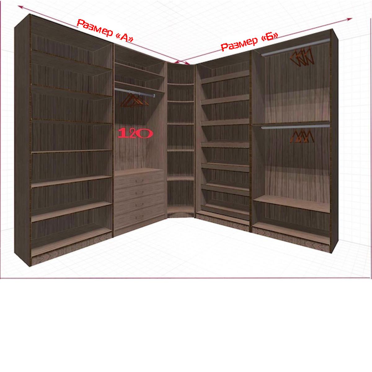 Угловая классическая гардеробная №L2x2f-a