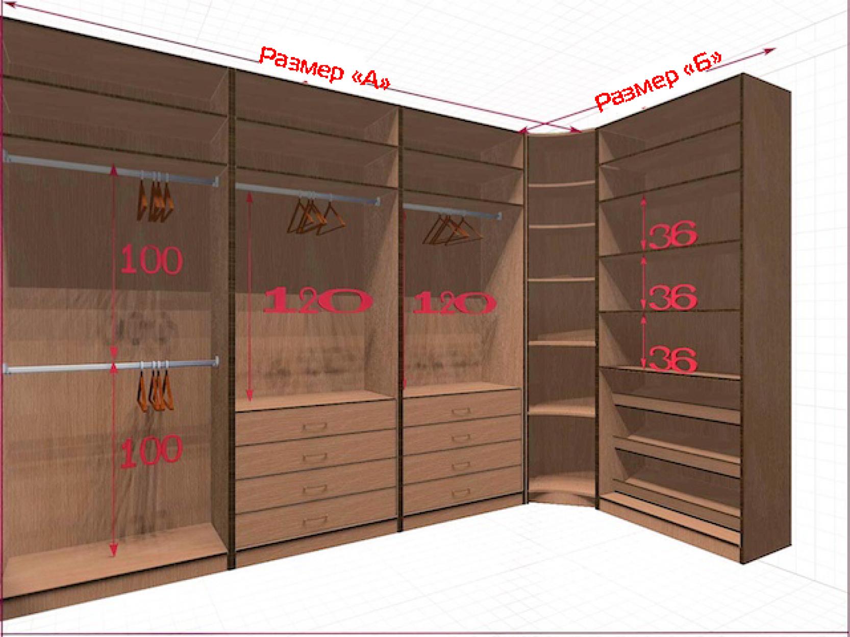 Угловая классическая гардеробная №L3x1-b