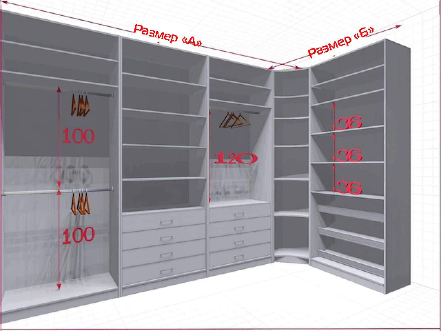 Угловая классическая гардеробная №L3x1-c