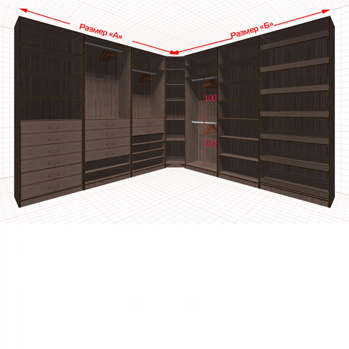 Угловая классическая гардеробная №L3x3-g