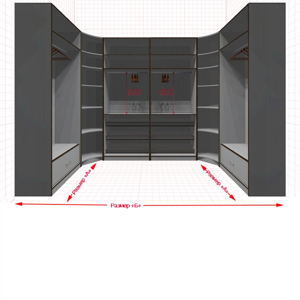 Угловая классическая гардеробная №U1x2-a