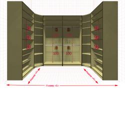 Угловая классическая гардеробная №U1x2-e