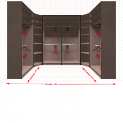 Угловая классическая гардеробная №U1x2-f