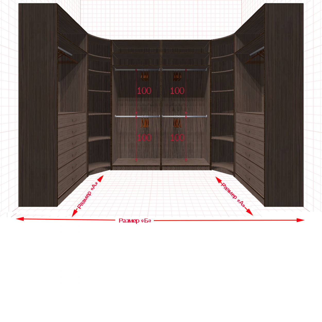 Угловая классическая гардеробная №U1x2-g