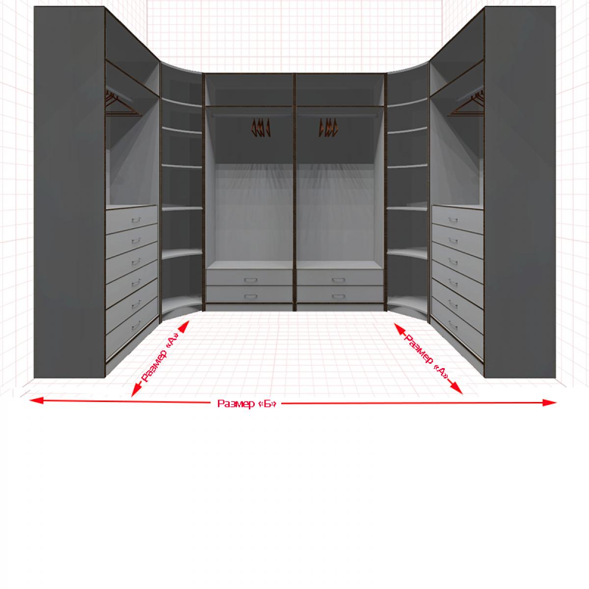 Угловая классическая гардеробная №U1x2-h
