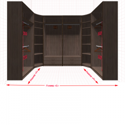 Угловая классическая гардеробная №U1x2-j