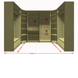 Угловая классическая гардеробная №U1x2-q