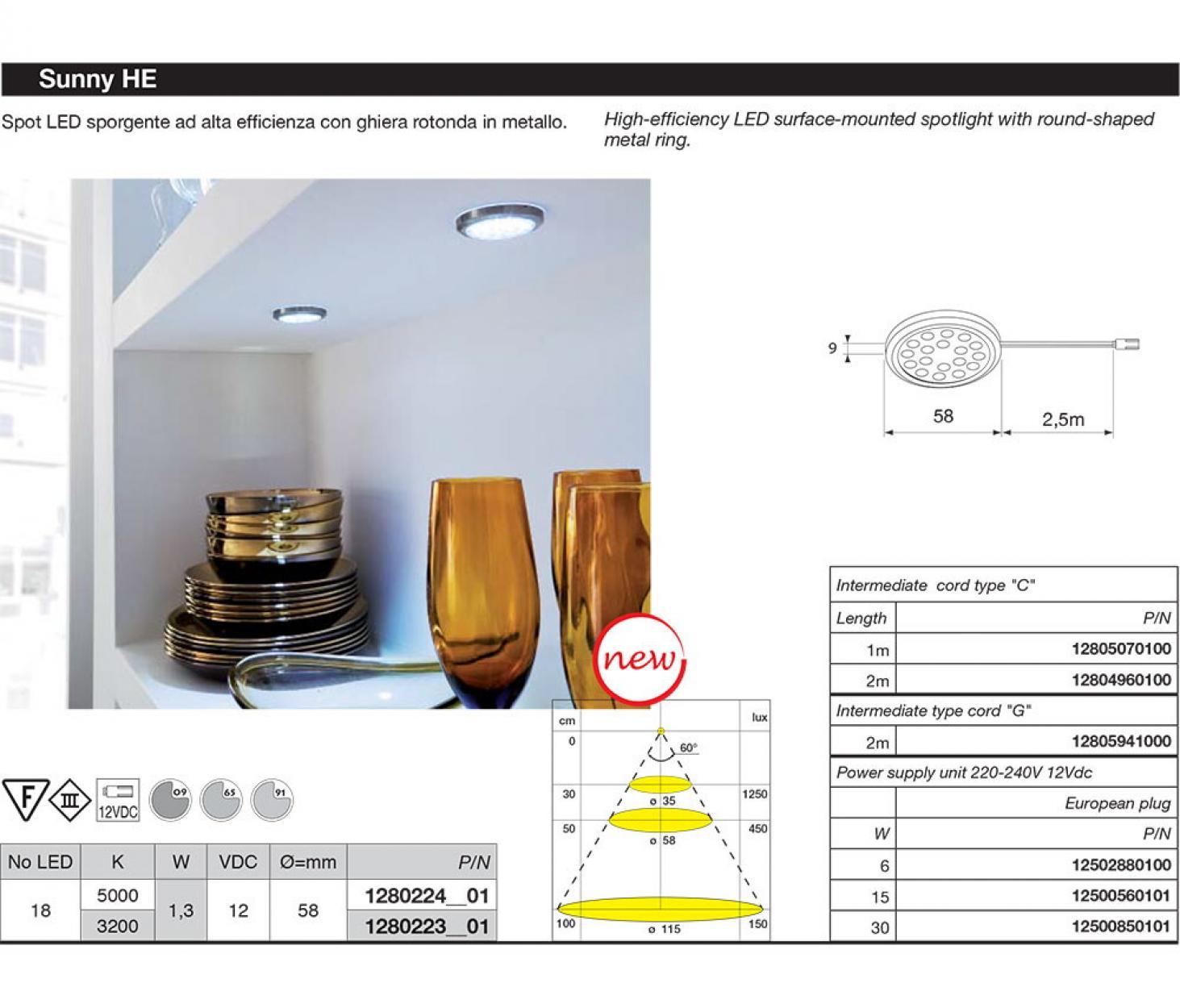 Sunny SQ HE 12V 1,25W 5000*K цвет серый металлик