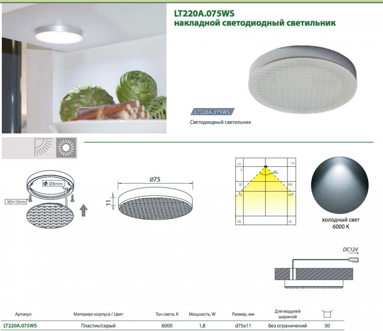 Светильник точечный круглый арт220 светодиодный 6000К