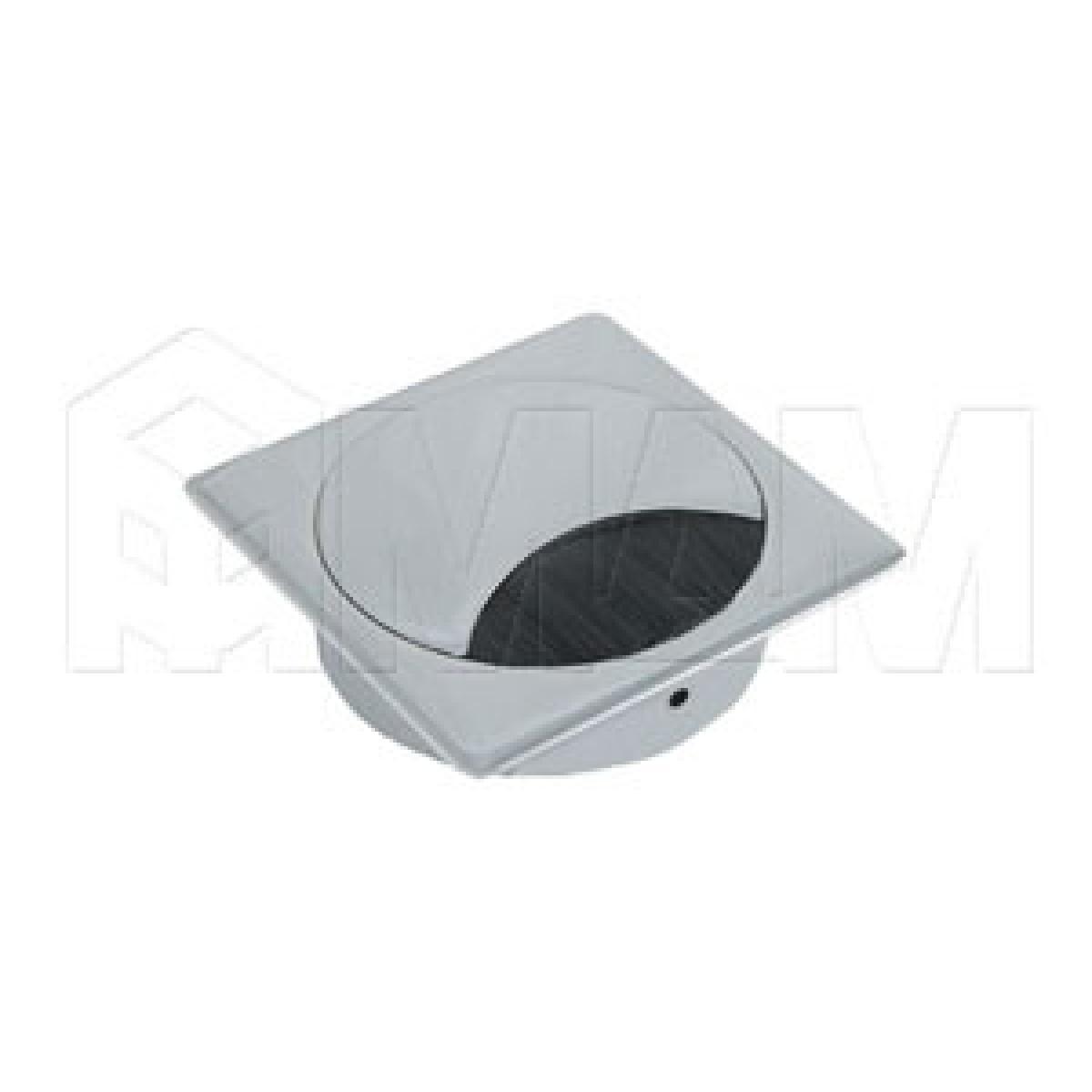 Заглушка кабель-канала, металлическая, квадратная, 90х90 мм, хром матовый