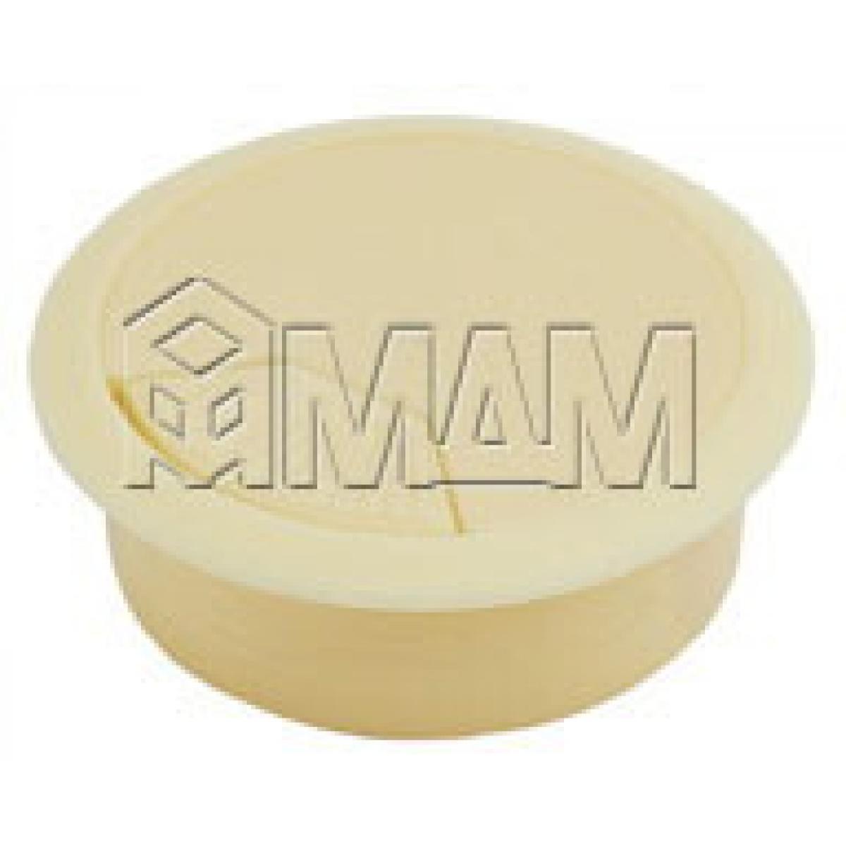 Заглушка кабель-канала, пластиковая, круглая, d=60 мм, бежевая