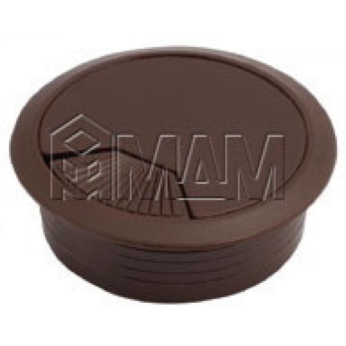 Заглушка кабель-канала, пластиковая, круглая, d=60 мм, темно-коричневая