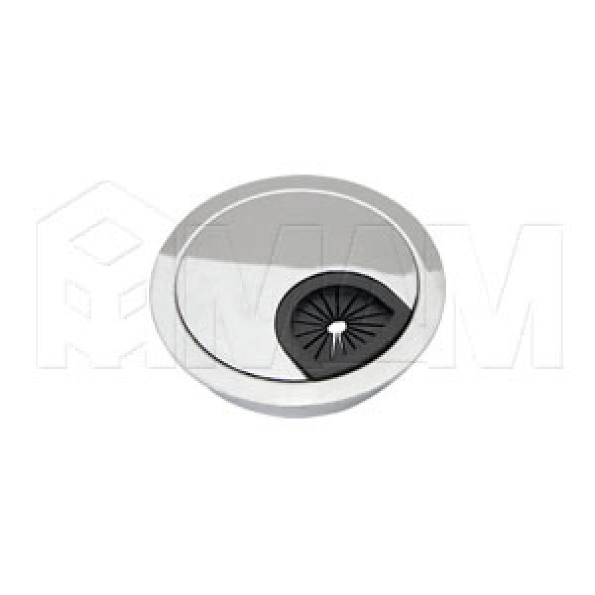 Заглушка кабель-канала, металлическая, круглая, d=60 мм, хром