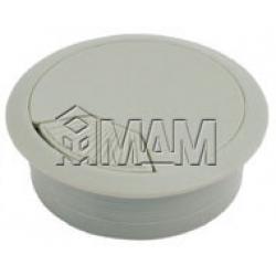 Заглушка кабель-канала, пластиковая, круглая, d=60 мм, серая