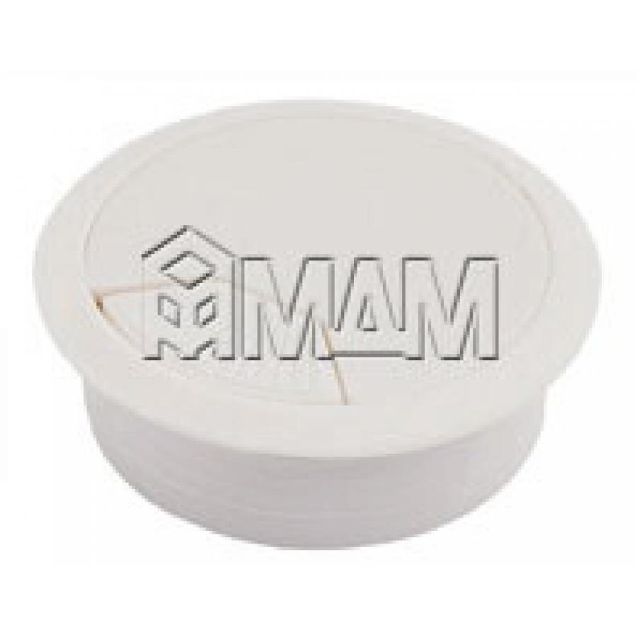 Заглушка кабель-канала, пластиковая, круглая, d=60 мм, белая