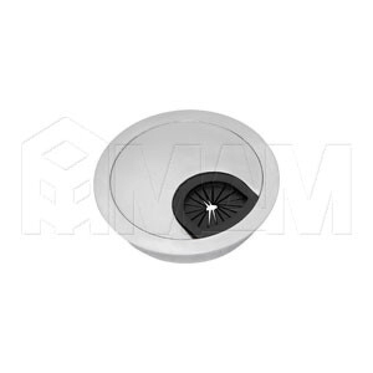 Заглушка кабель-канала, металлическая, круглая, d=60 мм, хром матовый